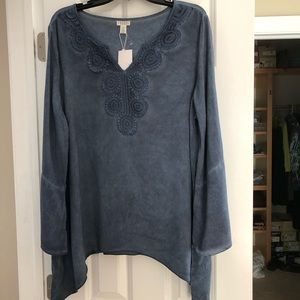 NWT Spense XL Washed Blue Bell Slv Tunic